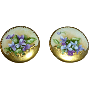 Victorian Hand Painted Porcelain Violets Cufflinks