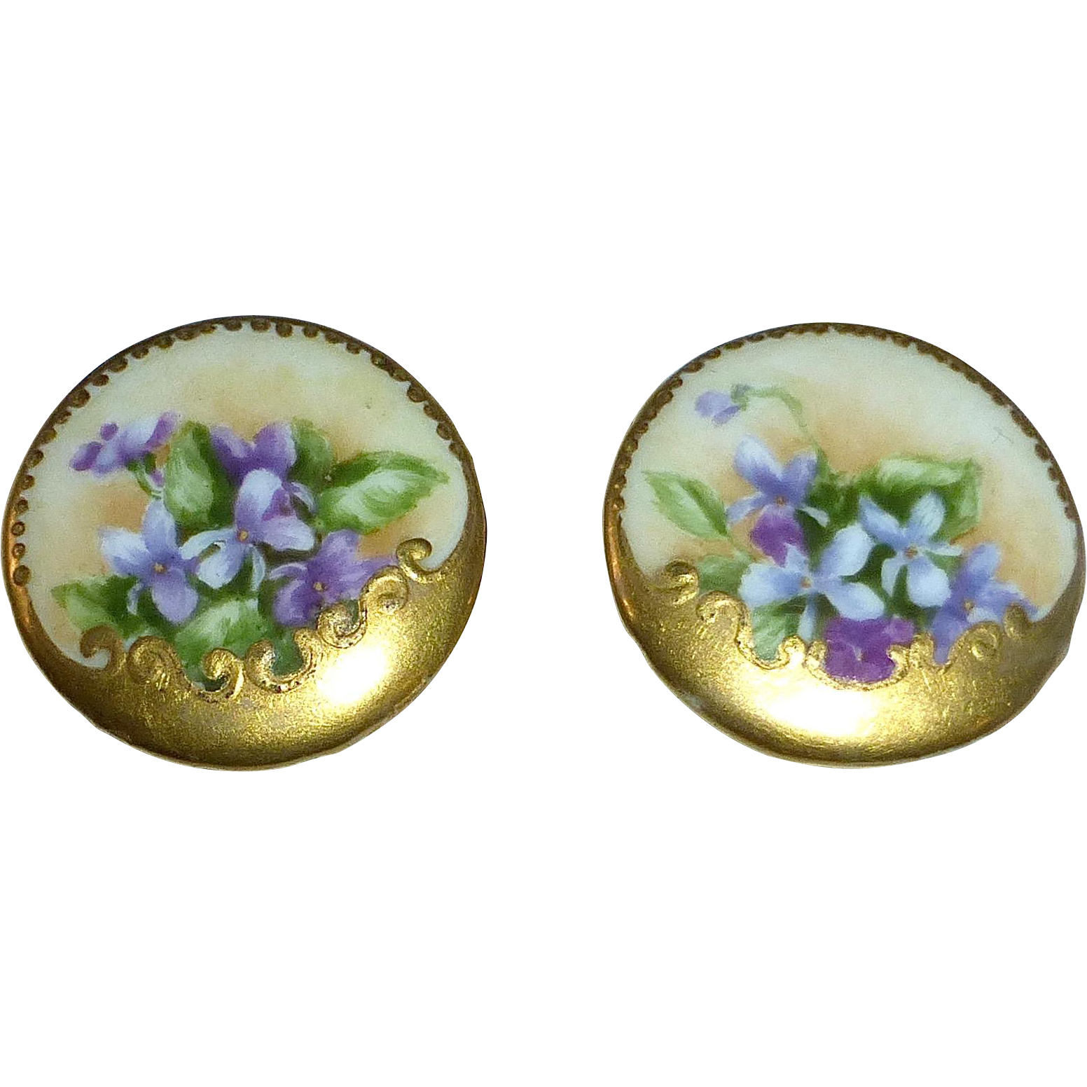 Victorian Hand Painted Porcelain Violets Cufflinks