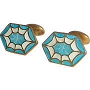 Art Deco Gilt Brass Cloisonne Enamel Cufflinks