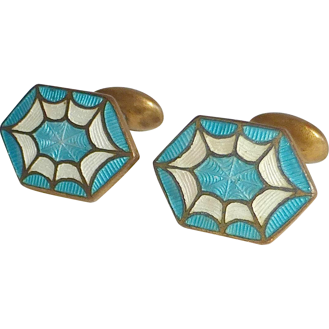 art deco gilt brass cloisonne enamel cufflinks from bejewelled on ruby lane. Black Bedroom Furniture Sets. Home Design Ideas