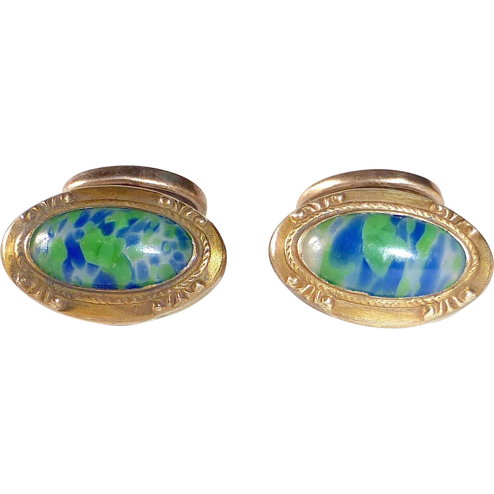 Art Deco Gold Filled Art Glass Cufflinks