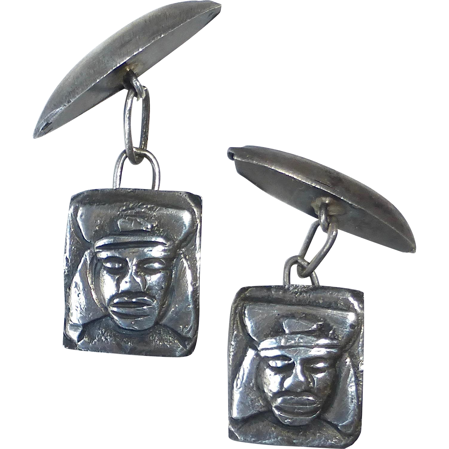 Sterling Inca Design Cufflinks from Peru