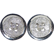 Sterling Silver Button Form Cufflinks