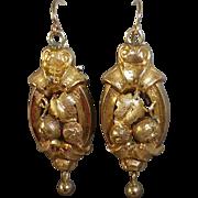 14k Victorian Repousse Fruit Motif Pierced Earrings