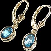 14k Pierced Blue Topaz Leverback Pierced Earrings