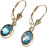 14k Pierced Blue Topaz Leverback Pierced Earrings