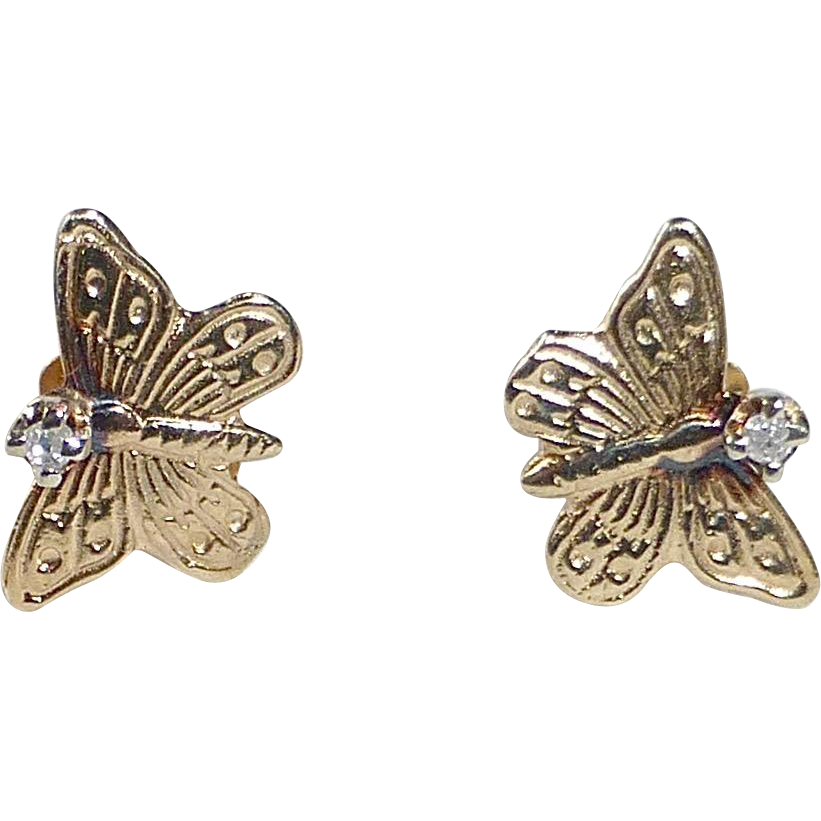 14k Butterfly Post Earrings w Diamond Chip