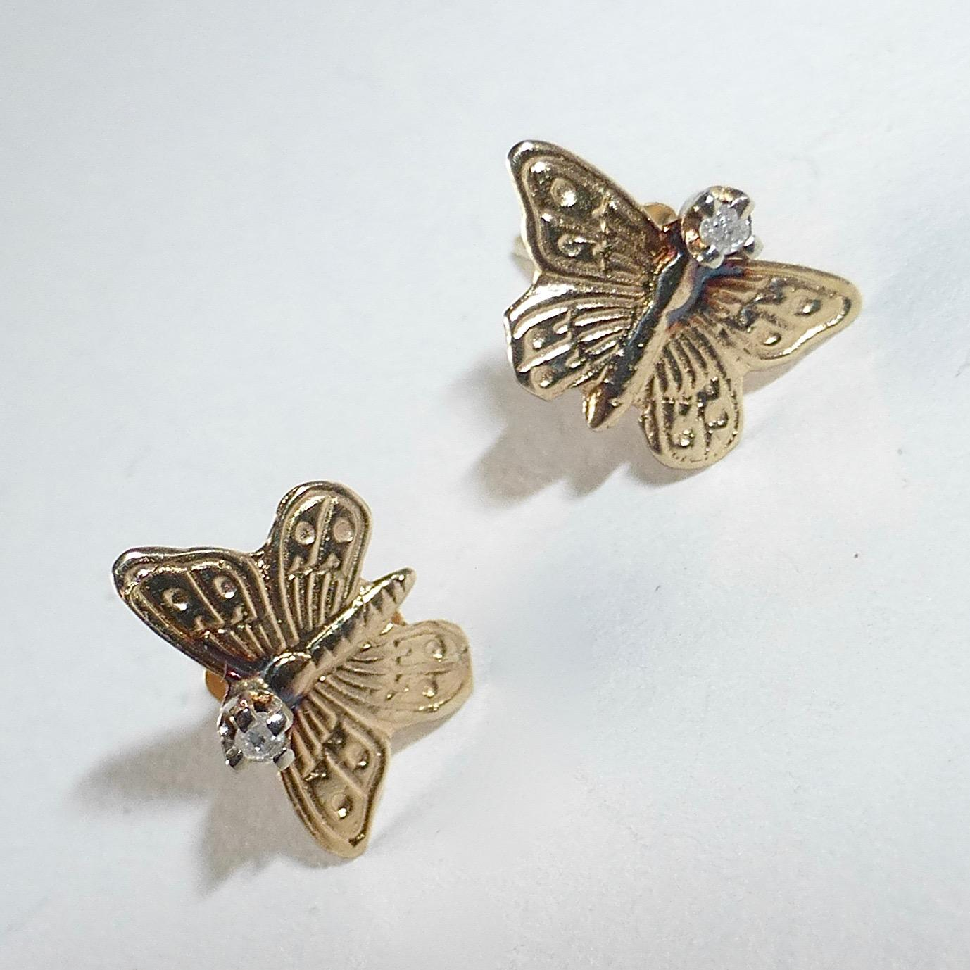 14k butterfly post earrings w chip from bejewelled