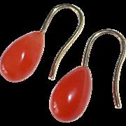 14k Coral Teardrop Pierced Earrings