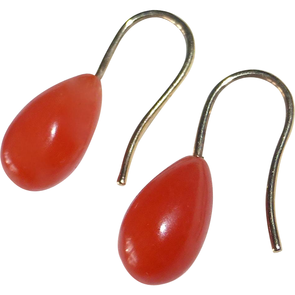 14k Coral Teardrop Pierced Earrings