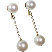 14k Yellow Gold Pearl Drop Earrings