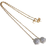 14k Long Drops w Diamond Studded Balls