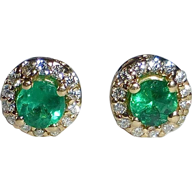 14k Emerald & Diamond Stud Earrings