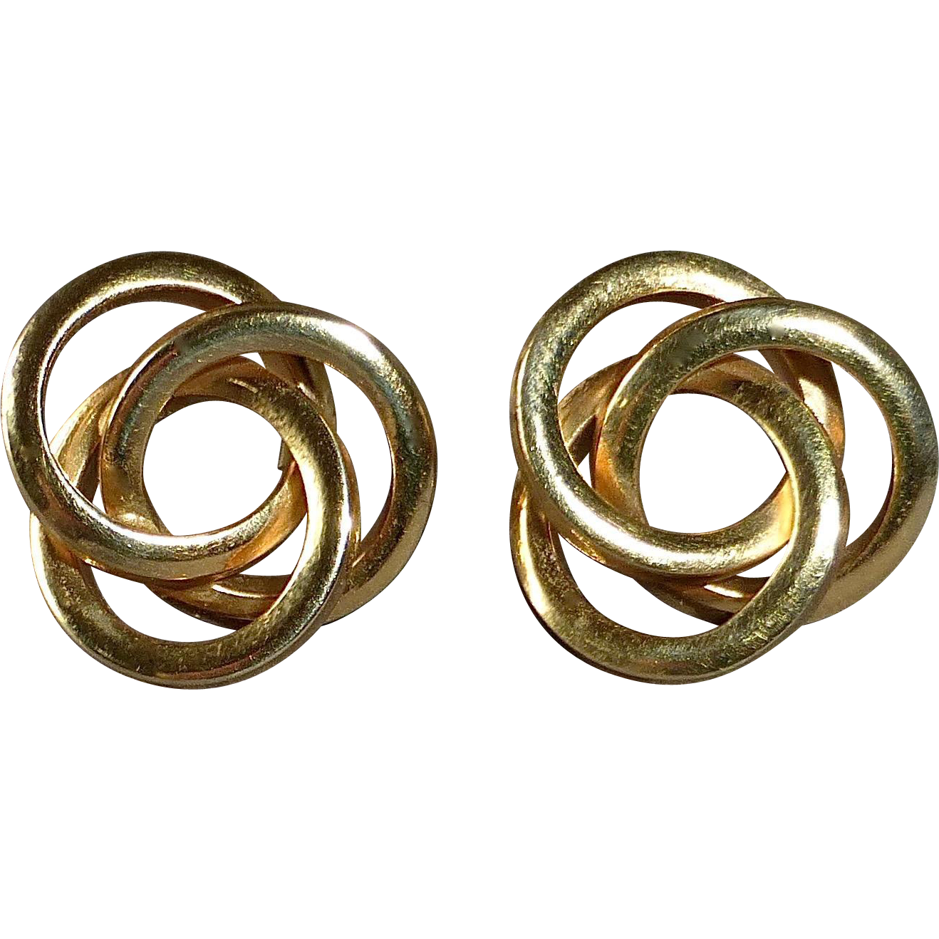 14k Yellow Gold Entwined Circle Pierced Earrings