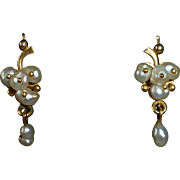 14k Art Deco Fresh Water Pearl Drop Pierced Earrings