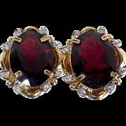14k Garnet Pierced Earrings Scalloped Frame Diamond Chips