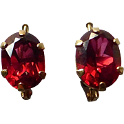 14k Faceted Garnet Lever Back Pierced Earrings