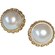 14k Lustrous Mabe Pearl Earrings Filigree Frame