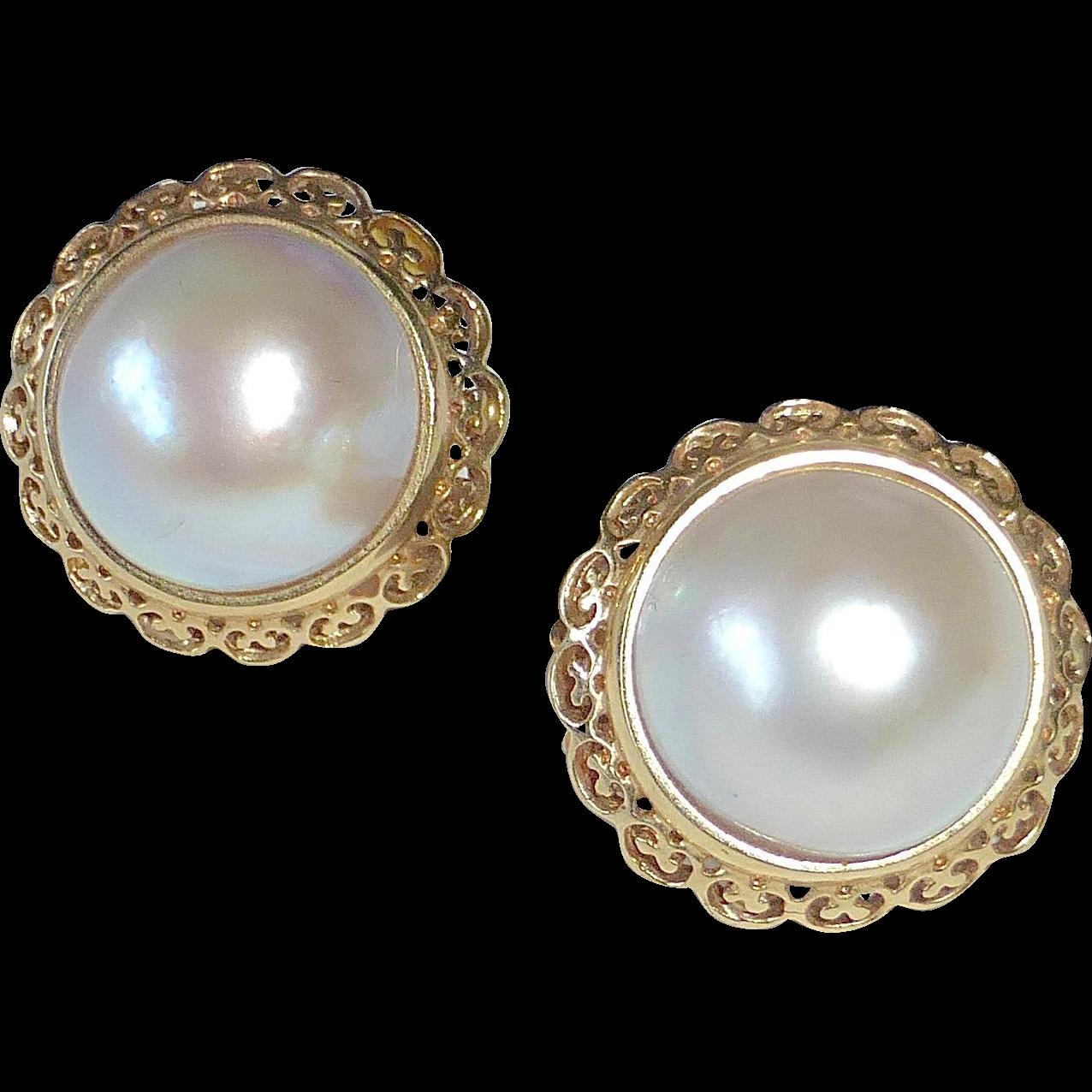 14k Lustrous Mabe Pearl Earrings Filigree Frame