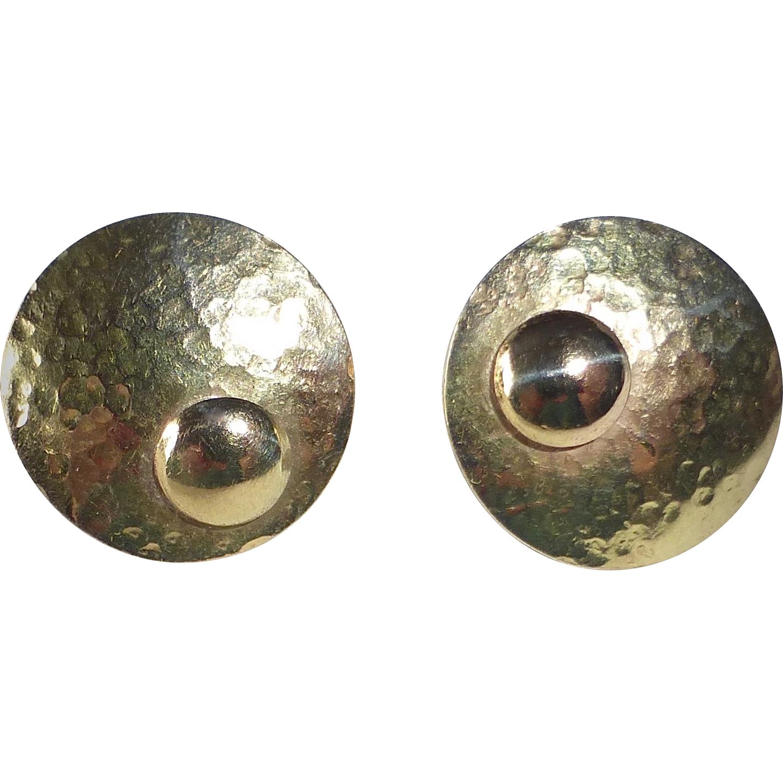 14k Modernist Hammered Dome Pierced Earrings