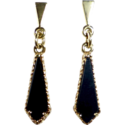 14k Black Onyx Pierced Drop Earrings