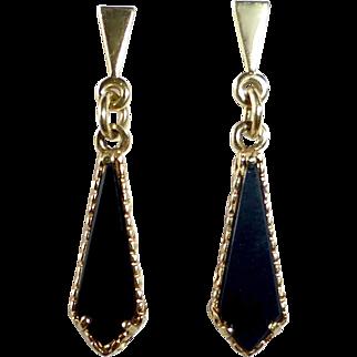 14k Black Onyx Pierced Drop Earrings