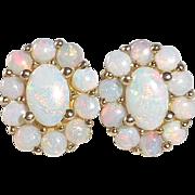 14k Oval Opal Rosette Post Earrings