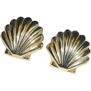 14k Scallop Shell Pierced Post Earrings