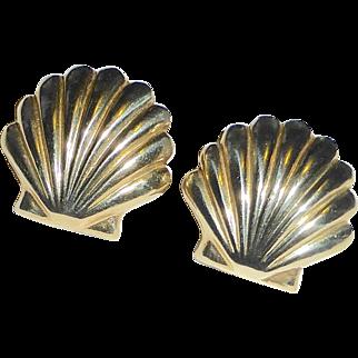14k Scallop Shell Pierced Post Earrings
