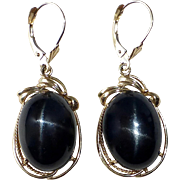 14k Large Black Star Diopside Cabochon Drop Earrings