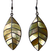 950 Sterling & Inlaid Mother of Pearl Leaf Earrings