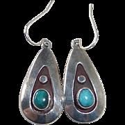 Native American Sterling Applique Teardrop Earrings w Turquoise