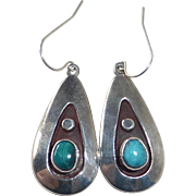 Native American Sterling Applique Teardrop Earrings w Turquoise