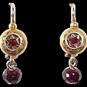 14k Victorian Bohemian Garnet Drop Earrings