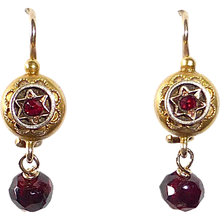 14k Victorian Bohemian Garnet Drop Earrings