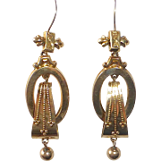 Antique Victorian Etruscan Revival Gold Filled Drop Earrings