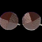 Art Deco Carved Bakelite Chocolate Brown Earrings