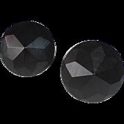 Black Bakelite Faceted Pointed Dome Screw Earrings