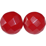 Rich Red Bakelite Faceted Dome Screw Earrings