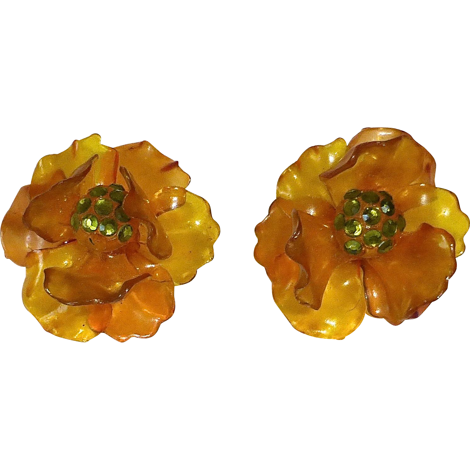 Celluloid Dimensional Flower Earrings w Paste Stones