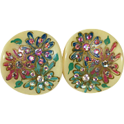 Celluloid Earrings Deep Set Rhinestones in Painted Flowers
