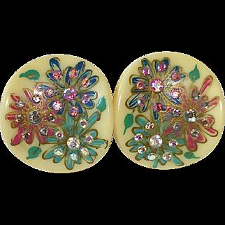 Celluloid Earrings Deep Set Rhinestones in Painted Flowers