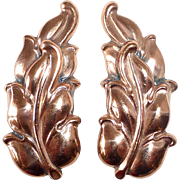 Renoir Gleaming Copper Leaf Design Clip Earrings
