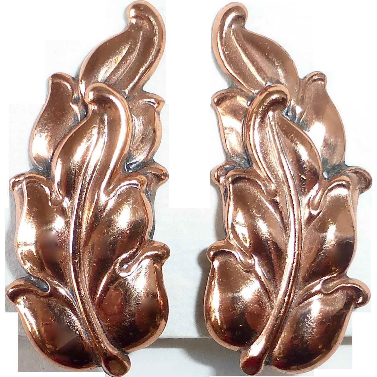 Renoir Gleaming Copper Leaf Design Clip Earrings