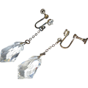 Art Deco Faceted Crystal Drop Earrings