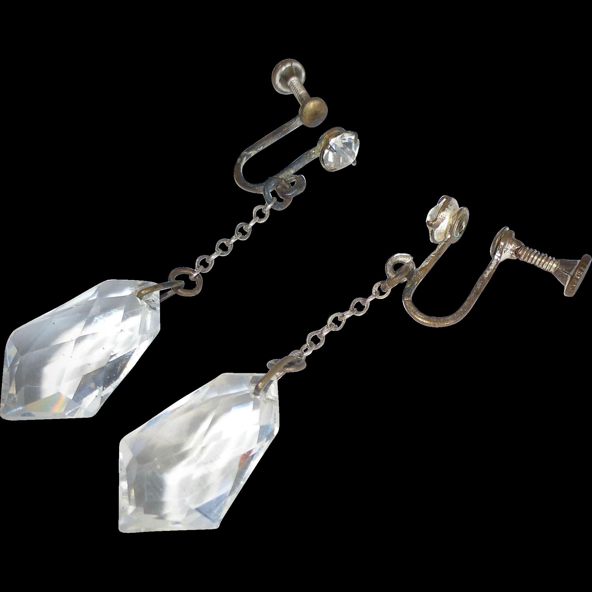 Art Deco Faceted Crystal Drop Earrings