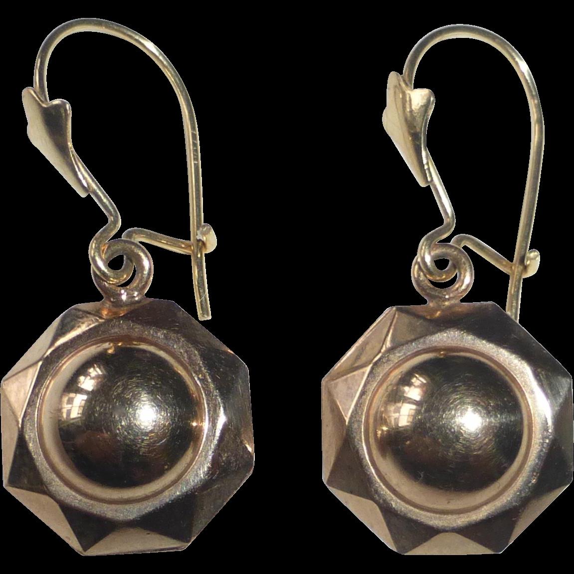 10k Art Deco Pierced Domed Drop Earrings from bejewelled ...