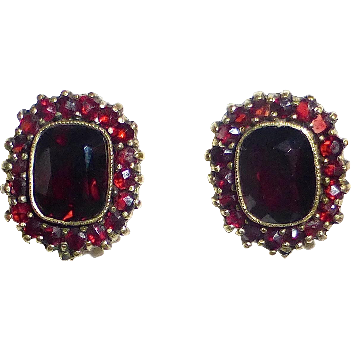 Gold Filled Genuine Garnet Cluster Clip Earrings