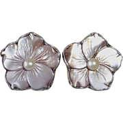 Amy Kahn Russell Sterling & Carved Mother of Pearl Flower Clip Earrings