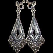 Early Cini Sterling Long Drop Earrings w Dangles